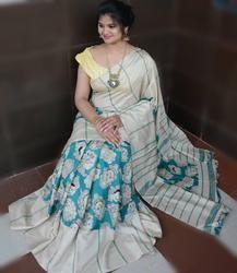 f5b15e15f1703 Beautiful Handloom Linen Chanderi Sarees with Beautiful Prints and Running  Blouse