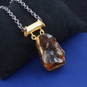 Rough Citrine Gemstone Women Long Gold Plated Pendant