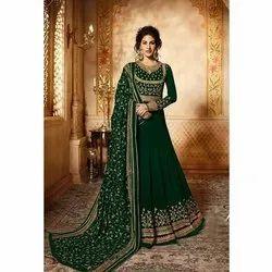 Green Georgette Ladies Designer Anarkali Suit