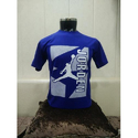 Blue Printed Half Sleeve Cotton T Shirt