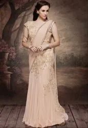 Picturesque Peach Designer Lehenga Saree