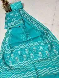 Party Wear Unstitched Hand Block Print Chanderi Silk Suit Set