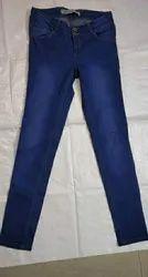 Regular Fit Blue Export Surplus Ladies Denim Pants