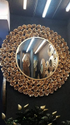 Round Iron Wall Handicrafts With Glass Ihk13009, Size: 36*36 Inches