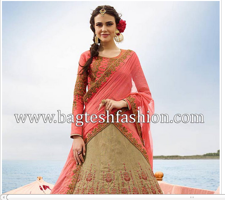 f0d2c8699f Beautiful Beige Art Silk Umbrella Lehenga - Bagtesh Fashion, Jodhpur ...