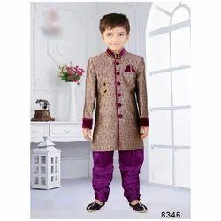 Festive Wear Raw Silk Kids Sherwani
