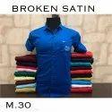 Casual Wear Blue Men Broken Satin Plain Shirt