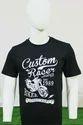 Mens Black Printed Round Neck T Shirt