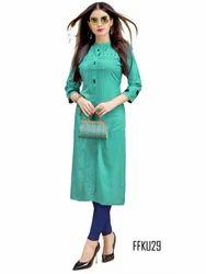 3/4th Sleeve Cotton Casual Wear Indian Kurti