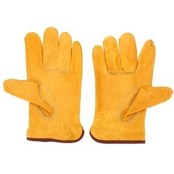 Yellow Industrial Leather Gloves