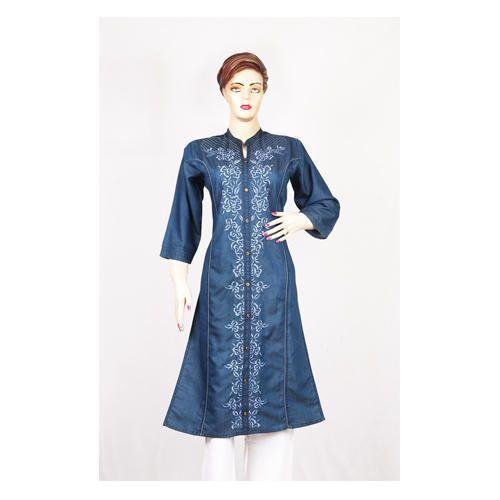 blue embroidered women stitched denim kurti rs 550 piece id