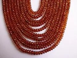 Spessartite, Spessartine, Fanta,Orange Garnet Faceted Rondelle Beads Necklace Strand