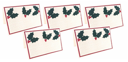 White Green Handmade Holly Leaf Embossed Christmas Card - Pack of 5