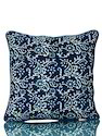 Blue Cotton With Handmade Bagru Print Cushion Covers, Size: 45 X 45 Cm