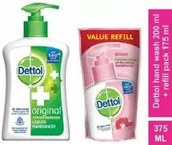 Dettol Handwash Pump 200ml and Refill 175ml Combo, Packaging Size: None, Size: 375ml