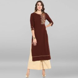 Brown Poly Crepe Kurta(JNE3401)