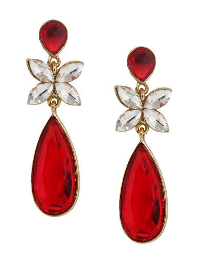 Ruby Red Stone Earring