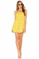Female Yellow Printed Party Dresses, Size: s To Xl