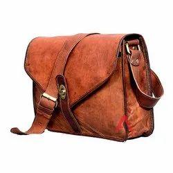 Plain Brown Leather Messenger Bag