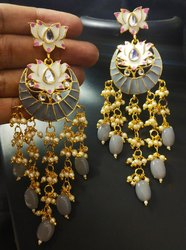 Wedding Earring Imitation Jewellery, Size: 9 Cm