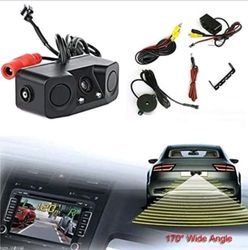 PONPY 3 In 1 HD Color CCD Video Parking Sensor Car Reverse Backup Rear View Came