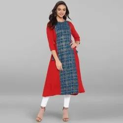 Red Poly Crepe Kurta(JNE3287)