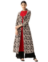 Cotton 3/4th Sleeve Red And Brown Kurti With Shrug