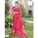 Ladies Party Wear Bandhani Saree