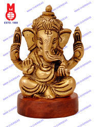 Lord Ganesh Sitting On Wooden Base Statue