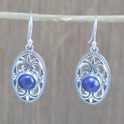 925 Sterling Silver Unique Jewelry Lapis Lazuli Gemstone Earring