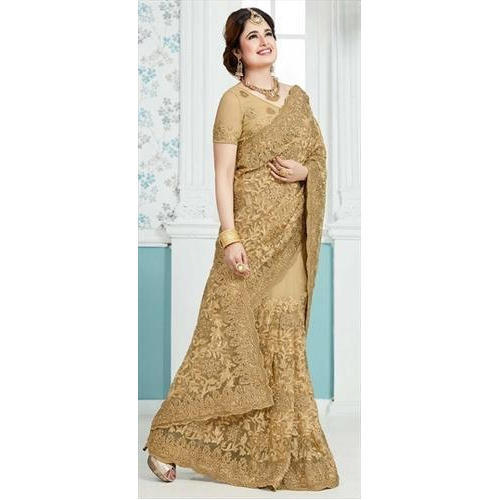3f245d8002 Net Party Wear Golden Style Embroidered Saree, 6.3 m (with blouse piece)