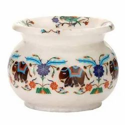 White Marble Inlay Pots