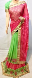 Designer Embroidery Work With  Fancy Pallu Georgette Patli Saree