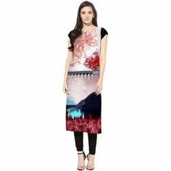 Trendy Digital Printed Half Sleeve Kurti