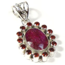 Dyed Ruby Sterling Silver Gemstone Pendant