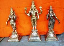Lord Vishnu With Bhudevi And Sri Devi Panchaloham 18 Inches