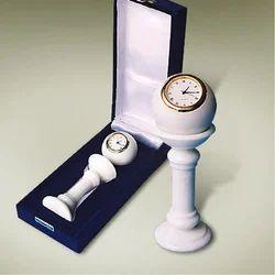 White Marble Pedestal Plain Clock