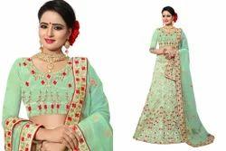Nari Fashiion Silk Wedding Lehanga Saree, 5.2 M Separate Blouse Piece