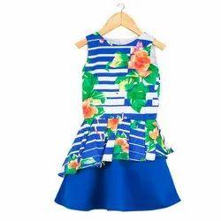 95% Cotton Satin Kids Girls Blue Floral Party Wear Dress
