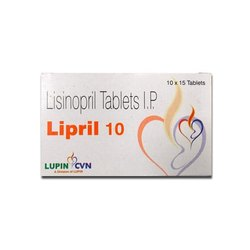 Lipril Lisinopril Tablet, For Clinical, Packaging Size: 150 Tablets Pack