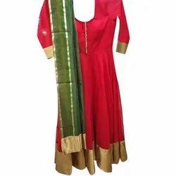 Ladies Party Wear Plain Floor Length Anarkali Suits