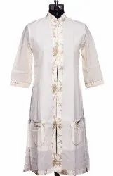 Long Women Ethnic Summer Jacket With Golden Piping