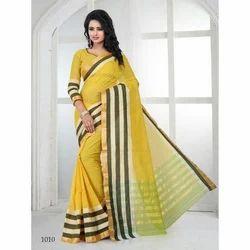 Ladies Yellow Cotton Saree