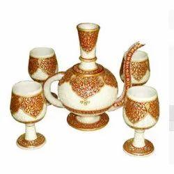 Marble Stone Tea Pot Set