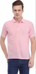Polo Neck Pink Half Sleeves T Shirt