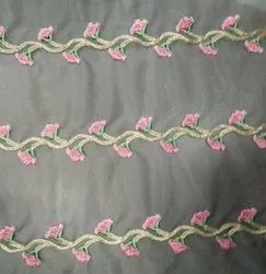 Flower Embroidered Net Fabric