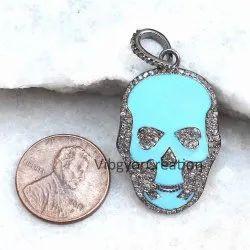 Blue Enamel Skull Pendant 925 Solid Silver Pave Diamond Halloween Jewelry