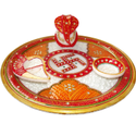 Multicolor Meenakari Round Marble Pooja Thali, Dimension: 10 Inch