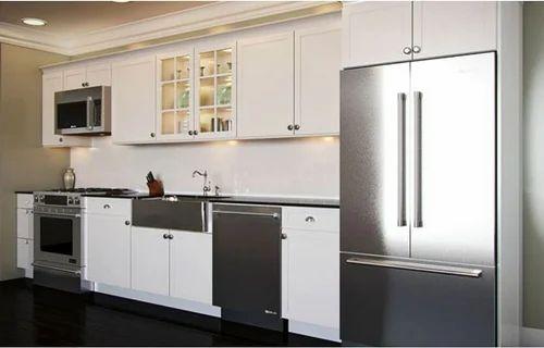 Single Wall Modular Kitchens Cabinets, Prefabricated Kitchen Cabinets Arranged In Single Wall