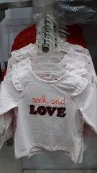 Lycra Cotton 3/4 Sleeves White Love Slogan Girls T Shirts